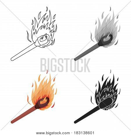 Match icon in cartoon style isolated on white background. Light source symbol vector illustration