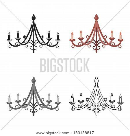 Chandelier icon in cartoon style isolated on white background. Light source symbol vector illustration