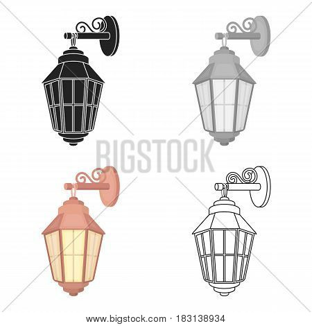 Street lantern icon in cartoon style isolated on white background. Light source symbol vector illustration