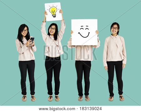 Young Asian Adult Woman Thinking Ideas Studio Isolated