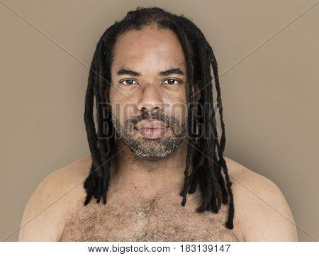 African Man Dreadlocks Bare Chest Manly Portrait