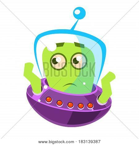Embarrassed green alien, cute cartoon monster. Colorful vector character isolated on a white background