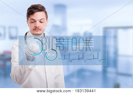 Doctor Hand Touching Icon On Virtual Screen