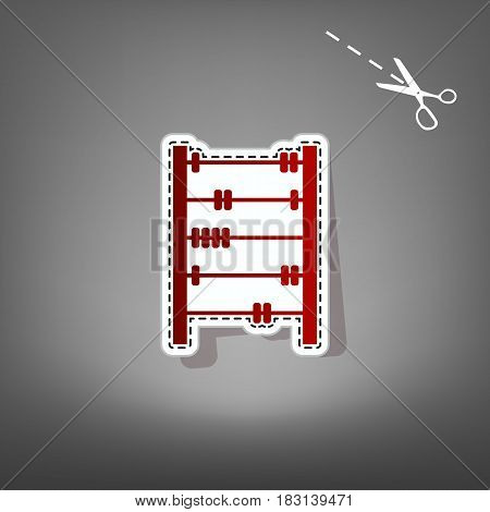 Retro abacus sign. Vector. Red icon with for applique from paper with shadow on gray background with scissors.