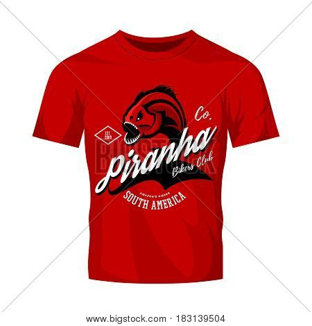 Vintage American furious piranha bikers club tee print vector design isolated on red t-shirt mockup.  Street wear t-shirt emblem. Premium quality fearsome fish superior logo concept illustration.