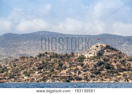 view from the sea on the Turkish fortress in the Mediterranean Sea