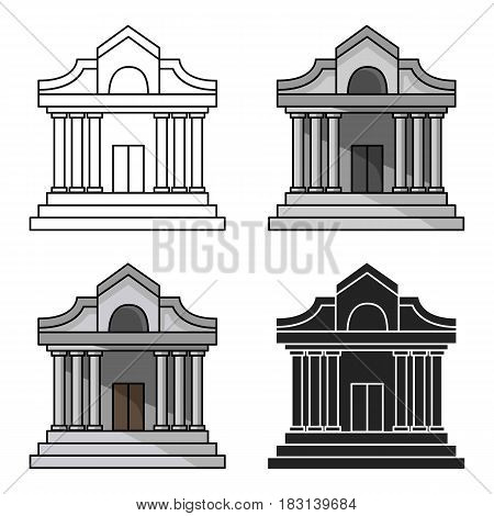 Museum building icon in cartoon style isolated on white background. Museum symbol vector illustration.