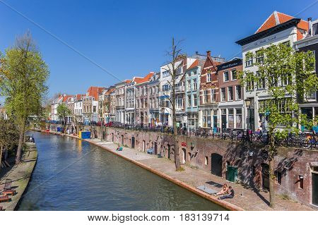 UTRECHT, NETHERLANDS - APRIL 09, 2017: Colorful houses at the Oudegracht canal in Utrecht, Netherlands