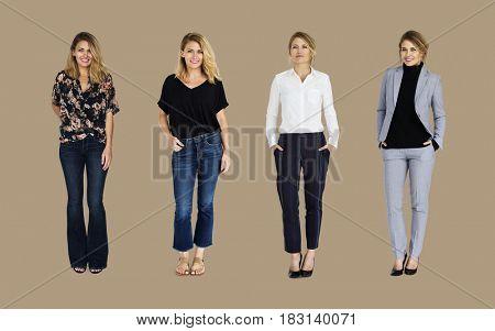 Adult Women Set Gesture Standing Studio Isolated