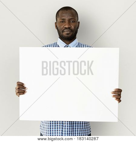 Adult Man Hands Hold Blank Paper Board Copy Space