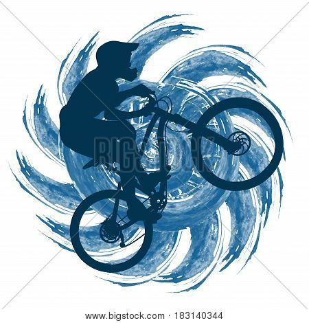 Circuit bicyclist on a background of an abstract figure with swirling rays