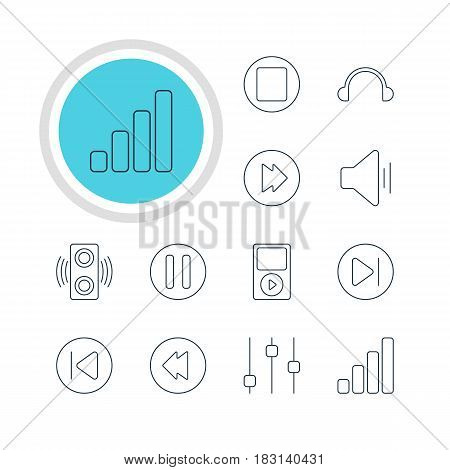 Vector Illustration Of 12 Melody Icons. Editable Pack Of Lag, Earphone, Mp3 And Other Elements.