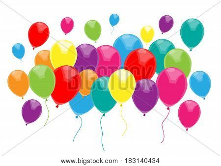 isolated multicolored balloons on white vector background