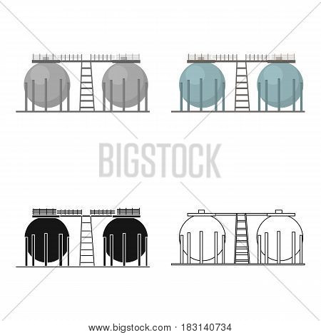 Oil refinery tank icon in cartoon style isolated on white background. Oil industry symbol vector illustration.