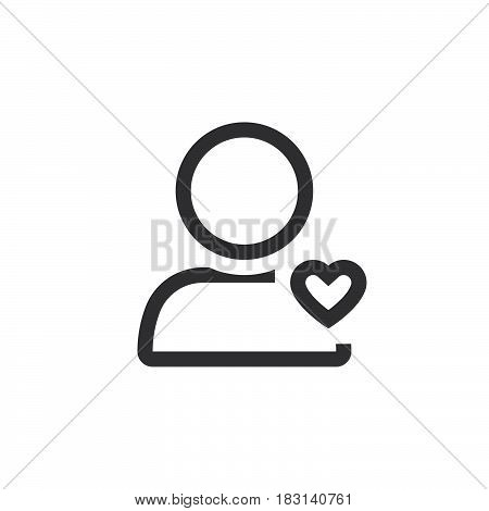 Favorite Account Symbol. User With Heart Line Icon, Outline Vector Logo Illustration, Linear Pictogr
