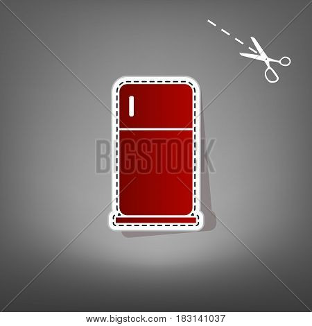 Refrigerator sign illustration. Vector. Red icon with for applique from paper with shadow on gray background with scissors.