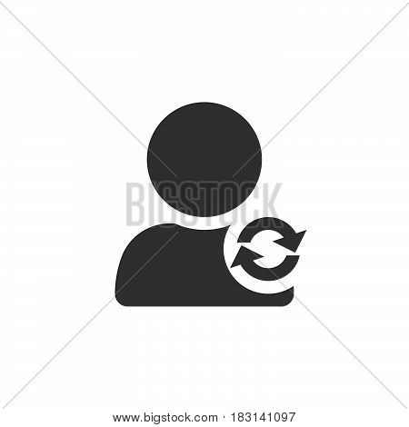 Update Account Symbol. Reload User Icon Vector, Solid Logo Illustration, Pictogram Isolated On White