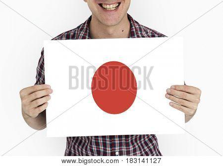 Man Hands Hold Japan Japanese Flag Patriotism