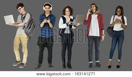 Diverse of Young Adult People Using Digital Devices Studio Isolated