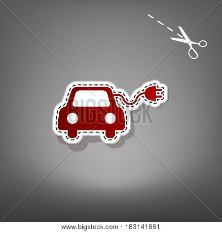 Eco electric car sign. Vector. Red icon with for applique from paper with shadow on gray background with scissors.