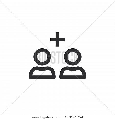 Add Friend Line Icon, Outline Vector Logo Illustration, Linear Pictogram Isolated On White