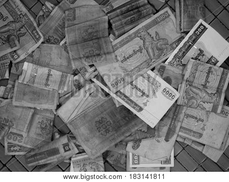 BLACK AND WHITE PHOTO OF OLD MYANMAR KYATS (CURRENCY OF BURMA)