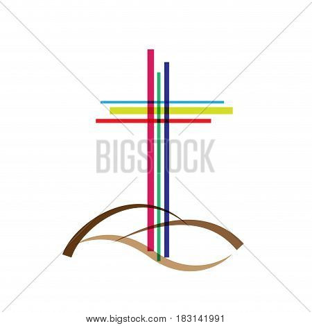 Vector abstract Christ crucifix; three crosses  isolated illustration