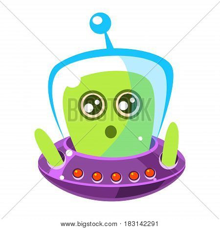 Naive and surprised green alien in a flying saucer, cute cartoon monster. Colorful vector character isolated on a white background