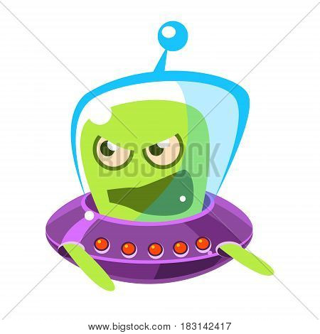 An angry and screaming green alien, cute cartoon monster. Colorful vector character isolated on a white background