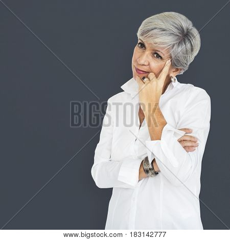 Mature Woman Deep Thoughts Concept