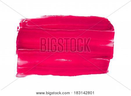 Smudged lipstick stroke on white isolated background