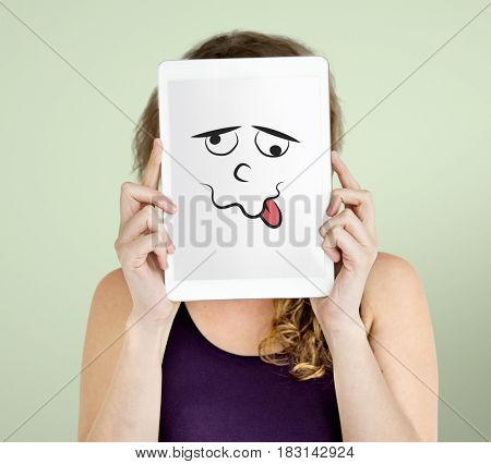 Woman hold digital tablet cover her face