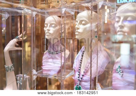 HONG KONG - MAY 05, 2015: a display window in a jewellery store in Hong Kong