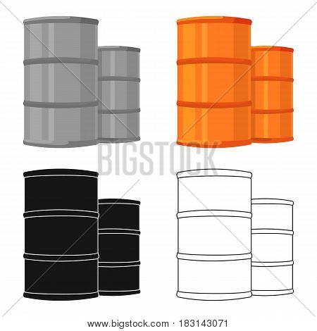 Oil barrels icon in cartoon style isolated on white background. Oil industry symbol vector illustration.