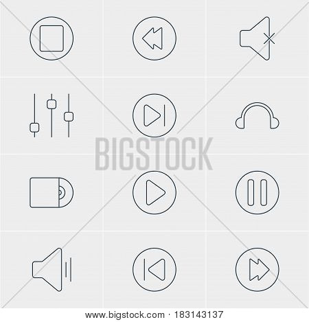 Vector Illustration Of 12 Melody Icons. Editable Pack Of Soundless, Subsequent, Earphone And Other Elements.
