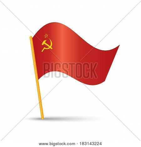 Soviet Union Flag with flagpole and shadow on white background