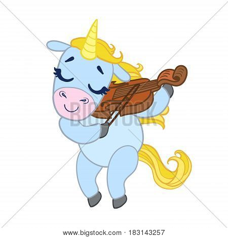 Cartoon light blue lovely unicorn violinist playing. Colorful vector character isolated on a white background