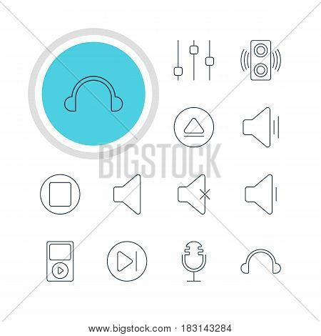 Vector Illustration Of 12 Music Icons. Editable Pack Of Mp3, Stabilizer, Decrease Sound And Other Elements.