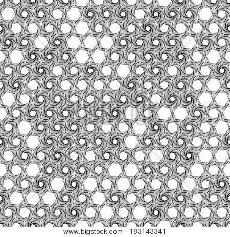 Spiral line geometric seamless pattern. Modern tile background with hexagons. Vector illustration.
