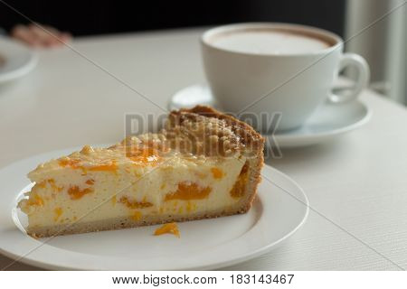 Large Coffee Mug. Hot Chocolate And Cheesecake On The Table.
