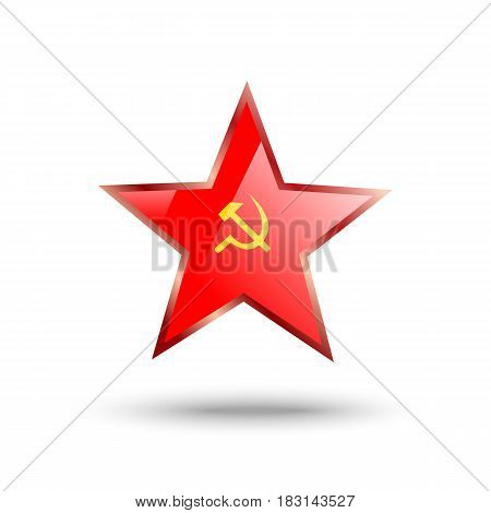 Soviet Union star with hammer and sickle and shadow on white background