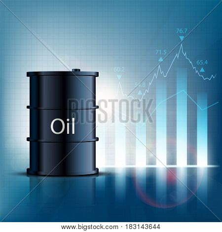 Barrel of oil with financial graphs and charts. Stock vector illustration.
