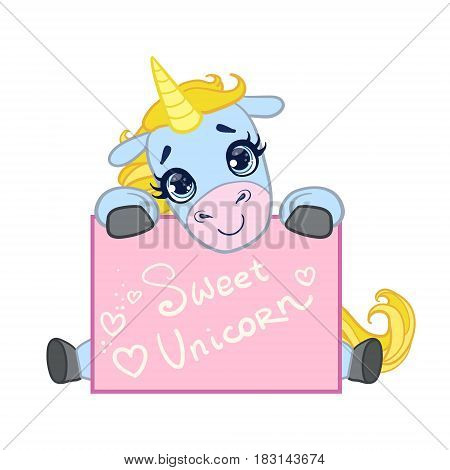 Cartoon light blue lovely unicorn seating with a greeting card. Colorful vector character isolated on a white background