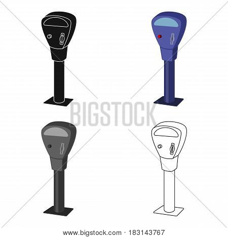 Parking meter icon in cartoon design isolated on white background. Parking zone symbol stock vector illustration.
