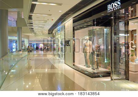 HONG KONG - MAY 05, 2015: Hugo Boss store at a shopping center in Hong Kong.