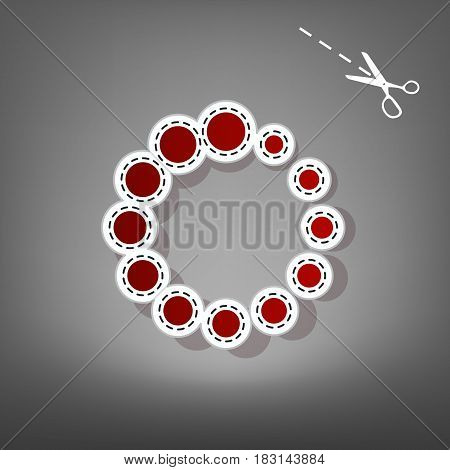 Circular loading sign. Vector. Red icon with for applique from paper with shadow on gray background with scissors.