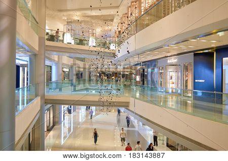 HONG KONG - MAY 05, 2015: inside a shopping center in Hong Kong.