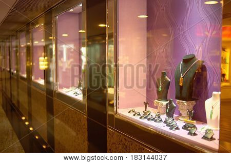 HONG KONG - MAY 05, 2015:  a display window in a jewellery store.