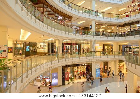 BANGKOK, THAILAND - JUNE 21, 2015: inside a shopping center in Bangkok.