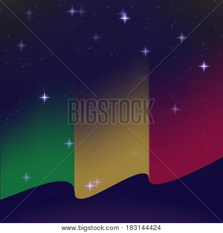 Waving flag of Mali. Background of the night starry sky. Shining in the colors of the national flag. vector illustration